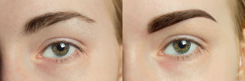 Perfect Eyebrows Before After. Two photos of eyes, eyebrows before & after correction. care and review of the eyes, light brown coloring, natural, perfect Stock Photos