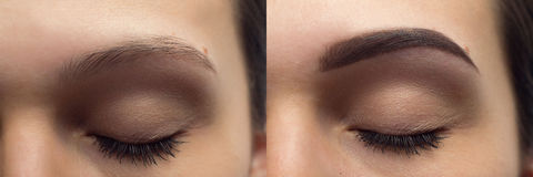 Perfect Eyebrows Before After. Two photos of eyes, eyebrows before & after correction. care and review of the eyes, light brown coloring, natural, perfect Royalty Free Stock Photos