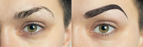 Perfect Eyebrows Before After. Two photos of eyes, eyebrows before & after correction. care and review of the eyes, light brown coloring, natural, perfect Royalty Free Stock Image