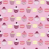 Title Vector Pink Garden Tea Party Cake Seamless Pattern Background. vector illustration