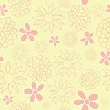 Tle Vector Yellow Flowers Garden Tea Party Background Pattern Design. royalty free illustration