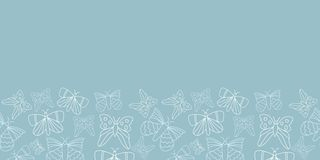 Vector blue butterflies border pattern background. stock illustration