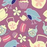 Vector Dark Pink Garden Tea Party Seamless Pattern Background. stock illustration