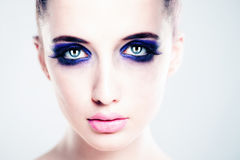 Perfect Face with Artistic Makeup. Beautiful Woman. Fashion Model royalty free stock photos