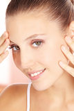 Perfect face of a woman. Perfect face of a young attractive woman Stock Images