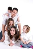 Perfect family. Prtrai of as perfect family on white back ground royalty free stock photo