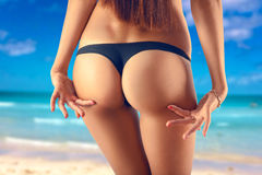 Perfect female ass in black panties Royalty Free Stock Image
