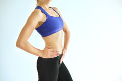 Perfect female body. Background of spa or sport with copyspace Royalty Free Stock Photos