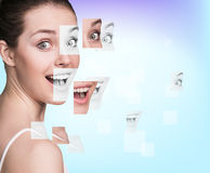 Perfect female face made of different faces Royalty Free Stock Photos