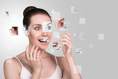 Perfect female face made of different faces Royalty Free Stock Image
