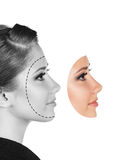 Perfect female face made of different faces Stock Image