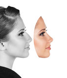 Perfect female face made of different faces Royalty Free Stock Photography