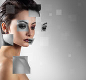 Perfect female face made of different faces Royalty Free Stock Photo