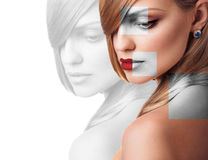 Perfect female face made of different faces. Perfect female face made from faces parts .Plastic surgery concept Royalty Free Stock Images