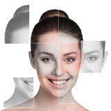 Perfect female face made of different faces. Plastic surgery concept Royalty Free Stock Photography