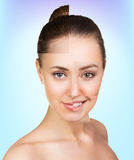 Perfect female face made of different faces Royalty Free Stock Images