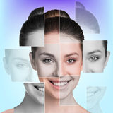 Perfect female face made of different faces Stock Photos