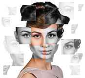 Perfect female face made of different faces Stock Photography