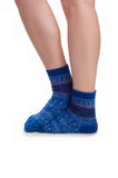 Perfect female legs in blue knitted socks Royalty Free Stock Image