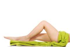 Perfect female legs in towel. Stock Images