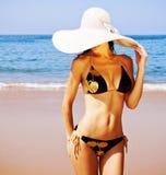 Perfect female on sea coast Royalty Free Stock Image