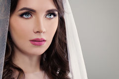 Perfect Fiancee Girl with Make up and White Veil. Closeup Fashion Portrait on Background with Copyspace Royalty Free Stock Image