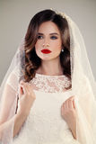 Perfect Fiancee Woman with Beautiful Hairstyle, Make up. Veil and Jewelry. Beautiful Bride in White Dress stock photo