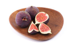 Perfect Figs on Wood Plate Stock Photo