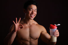 Perfect Finger Gesture For Protein Drink Royalty Free Stock Image