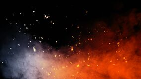 Perfect fire particles embers texture. Abstract flying sparkle overlays on background for text or space. Stock illustration