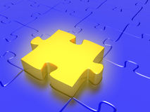 The perfect fit. Quality 3D render of a golden puzzle piece acting as the perfect fit for a jigsaw puzlle. Conceptual business idea Royalty Free Stock Photography