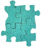 Perfect Fit. Four Blank texture Puzzle pieces connected. Strength in connection Royalty Free Stock Photos
