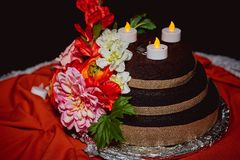 Outdoor Wedding Cake Floral Decoration stock photos