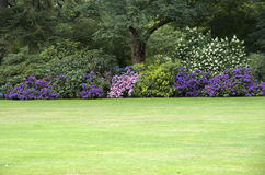 Perfect flowers garden lawn. Neat garden with beautiful mixed of flowers and trees Royalty Free Stock Photography