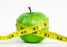 Perfect Fresh Green Apple Isolated on White Background in Full Depth of Field with Clipping Path. Stock Photo