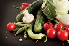 Perfect Organic Vegetables are Lying on the Black Background. royalty free stock photos