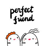 Perfect friend hand drawn illustration with cute marshmallows supporting each other. Cartoon minimalism vector illustration
