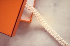 The perfect gift for her. Chic pearl jewellery in a present box - Valentine's day ideas, luxury shopping and holiday inspiration concept. The perfect gift for stock image