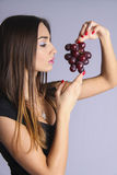 Perfect girl getting powers and freshness of fruits Royalty Free Stock Image