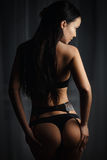 Perfect girl in a sexy black lingerie Royalty Free Stock Photo