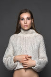 Perfect girl in the white sweater closeup fashion and beauty Stock Photo