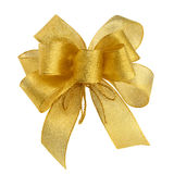 Perfect golden bow. Ornamental golden bow on pure white background stock photo