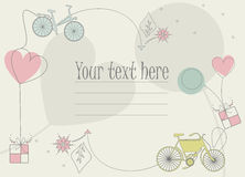 Perfect greeting card with bikes shillouettes, balloons, hearts Royalty Free Stock Images