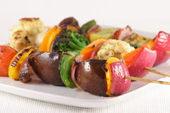 Perfect grilled shish kabob. This is an image of a grilled to perfection gourmet shish kabob ,one of vegans favorite meals Royalty Free Stock Images