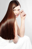 Perfect hair. Portrait of young beautiful woman with perfect hair Stock Image