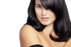 Perfect hair. Portrait of young beautiful woman with long glossy hair Royalty Free Stock Photography