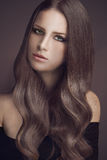 Perfect hair. Portrait of young beautiful woman with long glossy hair Royalty Free Stock Image