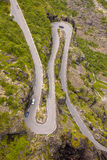 Perfect Hairpin bend. At Trollstigen road in Norway royalty free stock photography