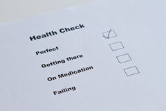 Perfect Health. Health check evaluation says perfect royalty free stock photos