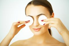 Perfect Healthy Woman with White Cotton Pads. Hygienic, Cleansing and Facial Treatment Concept stock images